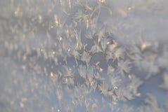 Les modèles sur un verre congelé Photographie stock libre de droits