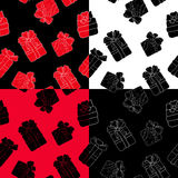 Les modèles tirés par la main place avec des cadeaux d'ensemble avec des arcs dans le style de bande dessinée Gribouillez la lign Photographie stock libre de droits