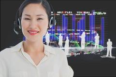 les modèles utilisant la tête micro ont placé sur le fond de graphiques Image stock