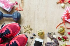 Les modes de vie de forme physique, sains et actifs aiment le concept, haltères, Photographie stock