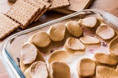 Les moeurs faites maison de ` de S plongent/guimauves cuites au four avec des biscuits ou des biscuits Photographie stock