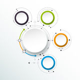 Les molécules abstraites de vecteur avec le papier 3D marquent, ont intégré des cercles Photos stock