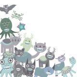 Les monstres drôles bleus et gris ont placé sur le fond blanc Vecteur illustration de vecteur