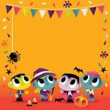 Les monstres et les goules mignons superbes de Halloween font la fête la scène illustration libre de droits