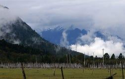 Les montagnes avec flagellent des nuages Photo libre de droits