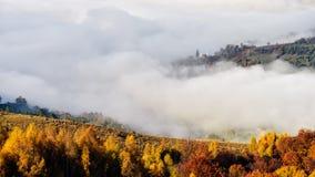 Les montagnes carpathiennes sauvages de la Roumanie avec la brume dans le temps d'automne aménagent en parc Images stock