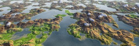 Les montagnes colorées de lac et de montagnes aménagent en parc, vue aérienne panoramique de monde miniature illustration de vecteur