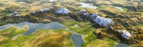 Les montagnes color?es de lac et de montagnes am?nagent en parc, vue a?rienne panoramique de monde miniature illustration stock