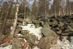 Les montagnes d'Ural Stationnement national Taganay Colline à deux têtes de montagne Images stock