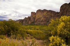 Les montagnes de l'Arizona s'approchent du lac Saguaro Photographie stock libre de droits