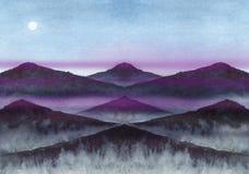 Les montagnes et la lune - paysage Images libres de droits