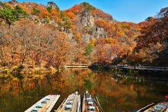 Les montagnes et le lac d'automne images libres de droits