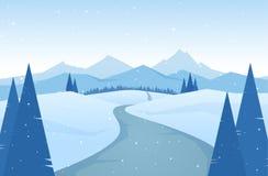 Les montagnes neigeuses d'hiver aménagent en parc avec la route, les pins et les collines photos libres de droits
