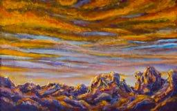 Les montagnes pourpres de peinture originale aménagent le fond en parc - espacez la réflexion étoilée de ciel et de montagnes, ét illustration libre de droits