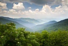 Les montagnes scéniques de route express bleue de Ridge donnent sur WNC Images libres de droits