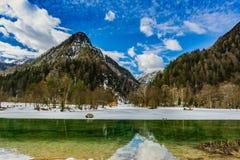 Les montagnes se sont reflétées dans un petit lac vert en Julian Alps images libres de droits