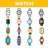 Les montres, instruments dirigent la ligne mince ensemble d'icônes illustration stock