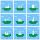 Les monuments et les points de repère de renommée mondiale conçoivent avec le dos bleu-clair illustration stock