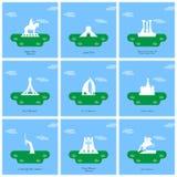 Les monuments et les points de repère de renommée mondiale conçoivent avec le dos bleu-clair illustration libre de droits