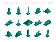 Les monuments isométriques de voyage ont placé l'illustration illustration de vecteur