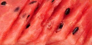 Les morceaux découpés en tranches criqués de pastèque donnent au fond une consistance rugueuse rouge Fin vers le haut Photos libres de droits