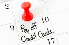 Les mots épongent des cartes de crédit Photographie stock