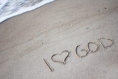Les mots dans le sable Image stock
