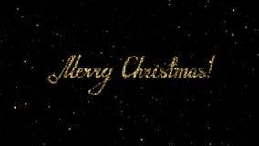 Les mots de Joyeux Noël des particules d'or formées des vacances ont animé le fond clips vidéos