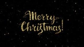 Les mots de Joyeux Noël des particules d'or formées des vacances ont animé le fond banque de vidéos