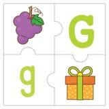 Les mots de match de puzzle denteux - G Photos libres de droits