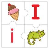 Les mots de match de puzzle denteux - I Images stock
