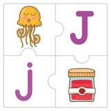 Les mots de match de puzzle denteux - J Photos stock