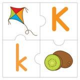 Les mots de match de puzzle denteux - K Photo stock