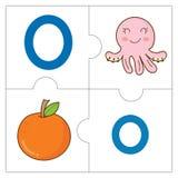 Les mots de match de puzzle denteux - O Images stock