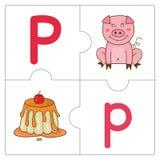 Les mots de match de puzzle denteux - P Images stock
