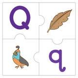 Les mots de match de puzzle denteux - Q Image stock