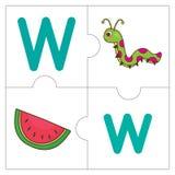 Les mots de match de puzzle denteux - W Image stock