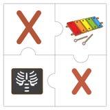 Les mots de match de puzzle denteux - X Photographie stock libre de droits