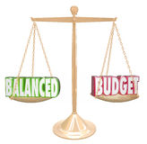 Les mots du budget équilibré 3d mesurent l'égal financier de revenu de coûts Image stock
