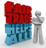 Les mots du penseur 3d de commerce équitable prévoyant l'approvisionnement d'affaires exporte I Images stock