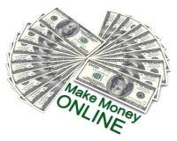 Les mots gagnent l'argent en ligne avec des dollars Photographie stock libre de droits