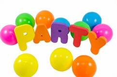 Les mots PARTIE avec des boules Image stock