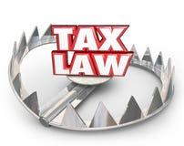 Les mots rouges du droit fiscal 3d soutiennent des règlements de règles juridiques de piège illustration de vecteur