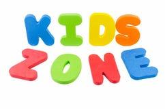 Les mots 'zone d'enfants' Image libre de droits