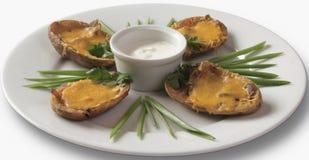 Les moules ont fait cuire au four avec du fromage Photo stock