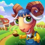 Les moutons avec l'accueil compliqué de klaxons vous à sa ferme ! Photographie stock libre de droits