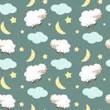Les moutons mignons dans le ciel nocturne avec les étoiles musardent et l'illustration sans couture de fond de modèle de nuages Image stock