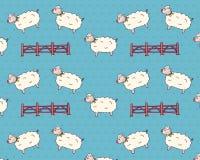 Les moutons sautant par-dessus la barrière Pattern Retro Fond d'isolement par vecteur Photos libres de droits