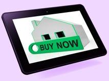 Les moyens de Tablette de Chambre d'acheter maintenant montrent un intérêt ou font une proposition Photo libre de droits