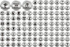 Les multimédia folâtrent et l'ensemble d'icônes de cercle médical images libres de droits